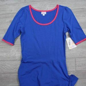 LuLaRoe Ana Dress Blue Pink Neck Size M (10-12)